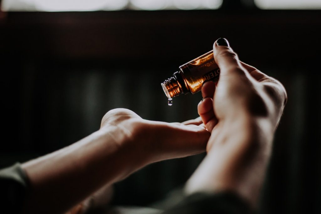 woman using aromatherapy