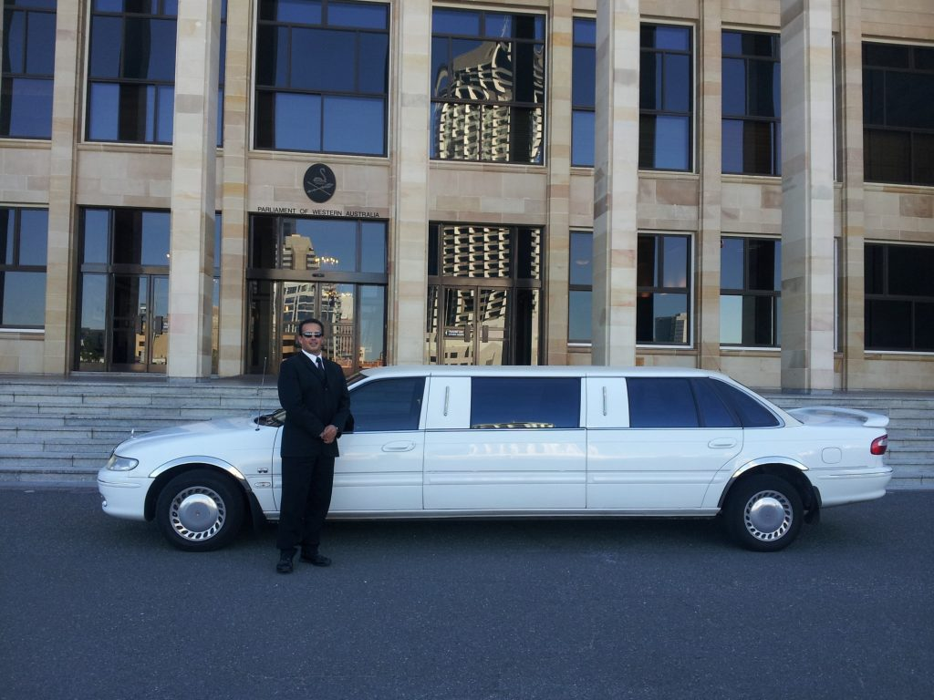 man with limo