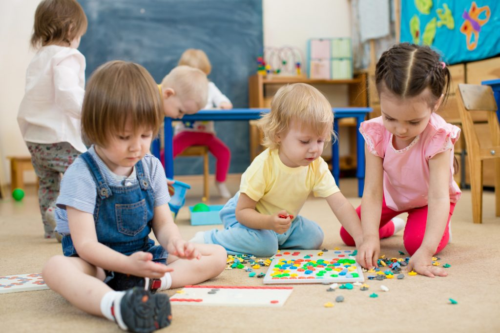 kids playing at childcare center